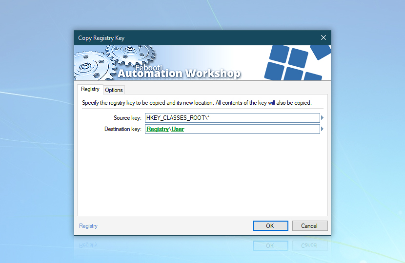 Copy registry key · Registry