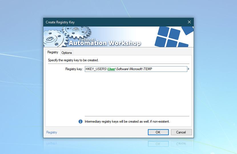 Create registry key · Registry