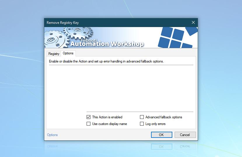 Remove Registry Key · Options