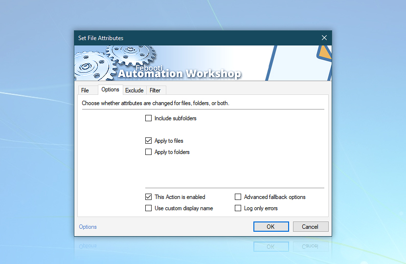 Set File Attributes · Options