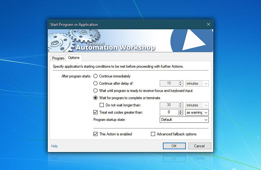 Start program or application · Options