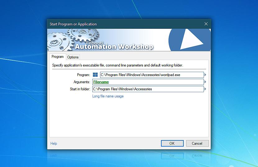 Start program or application · Program