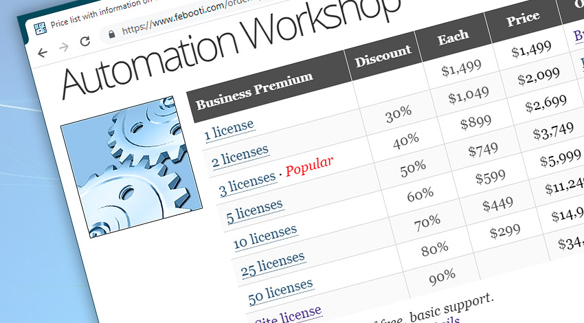 Automation Workshop pricelist