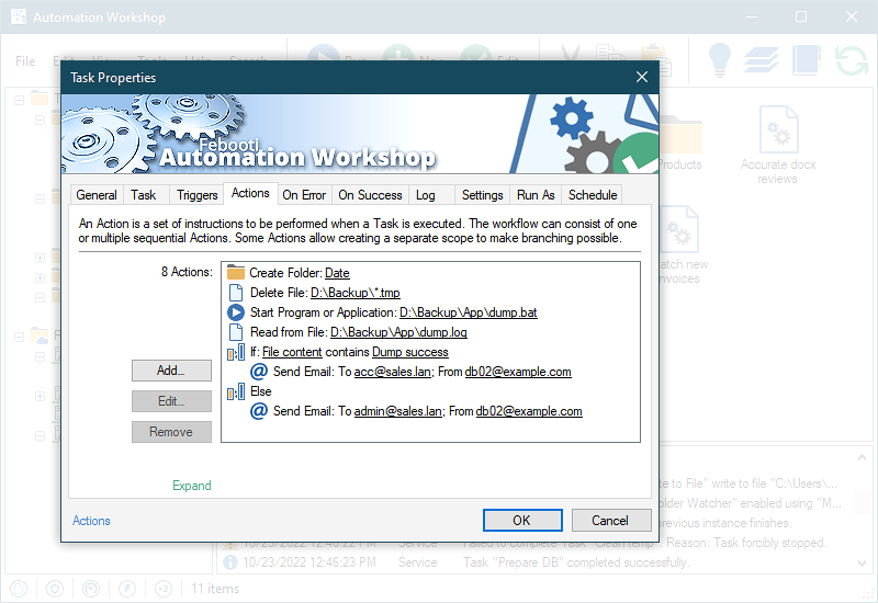 Automated task with actions workflow.