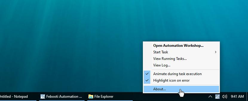 Notification area context menu · About