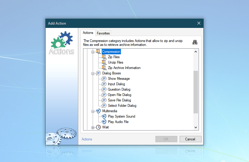 Add action—compression, dialog boxes, multimedia