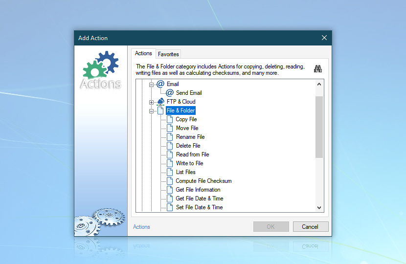 Add action—email, file and folder