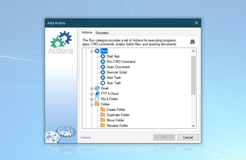 Add action—run, email, printing, registry