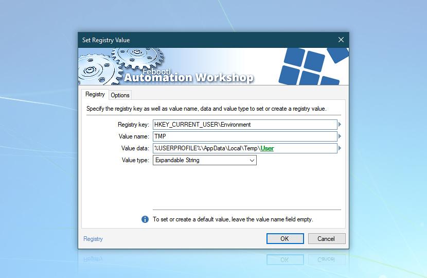Set Registry Value · Automation Workshop screenshot