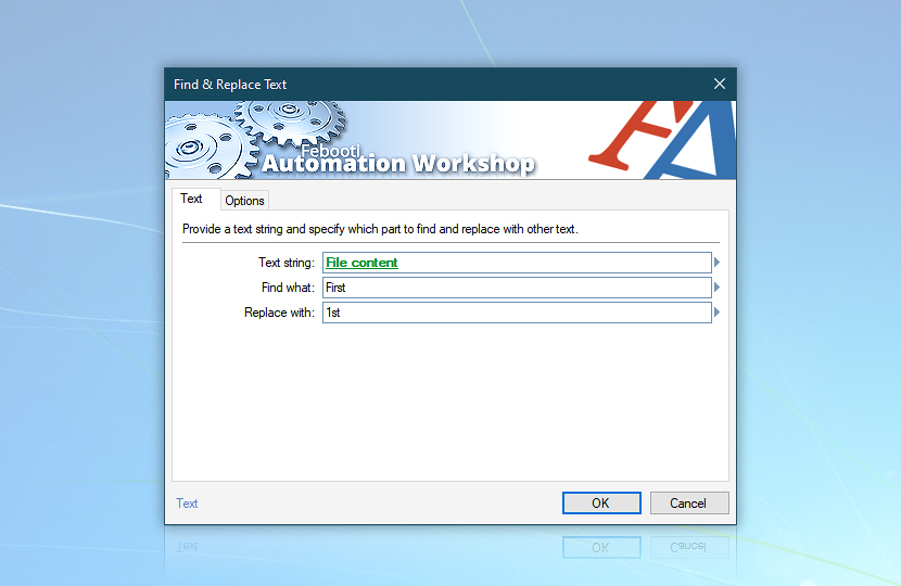 Find and Replace Text · Automation Workshop screenshot