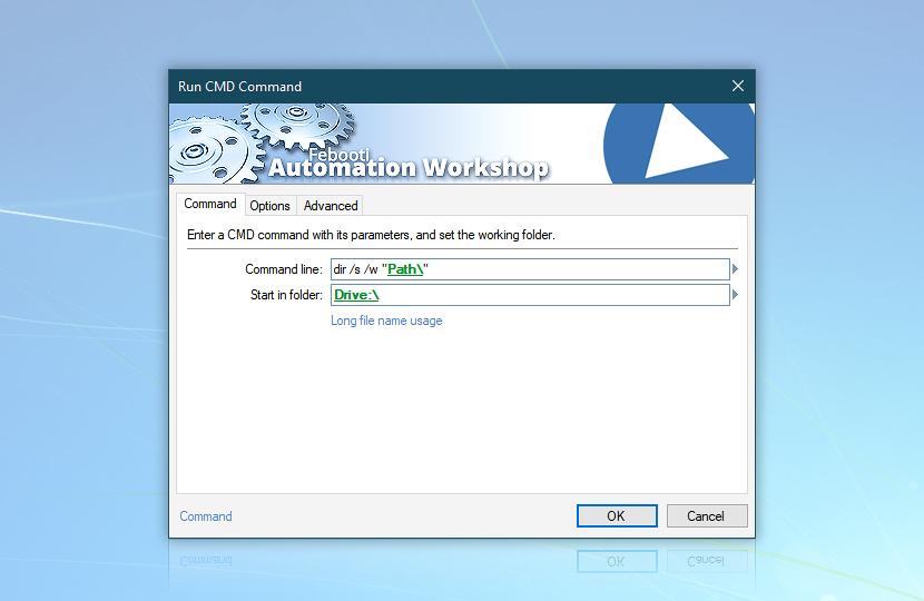 Run CMD Command · Automation Workshop screenshot