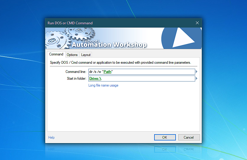 Run DOS Command · Automation Workshop screenshot