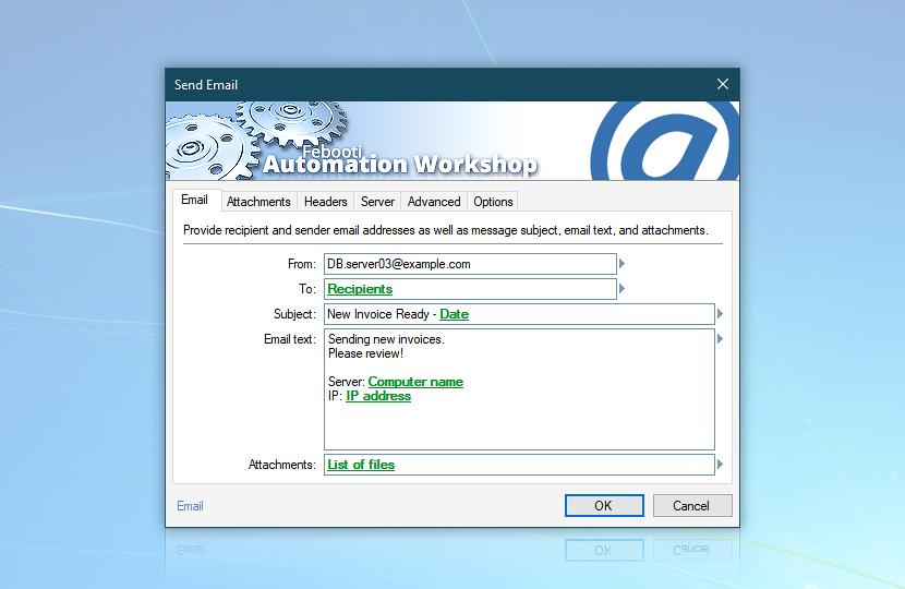 Send Email · Automation Workshop screenshot
