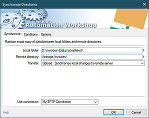 Automate action · Synchronize directories