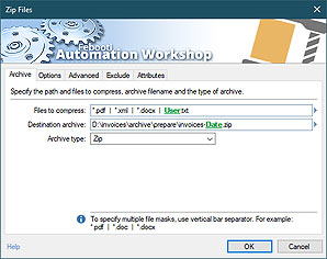Automate action · Zip files