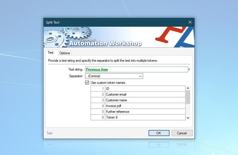 Split Text · Automation Workshop screenshot