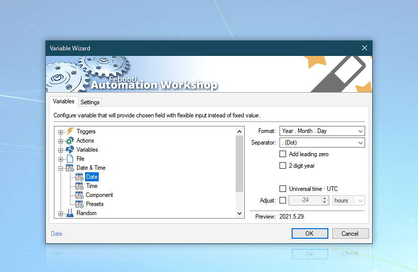Variable Wizard · Automation Workshop screenshot