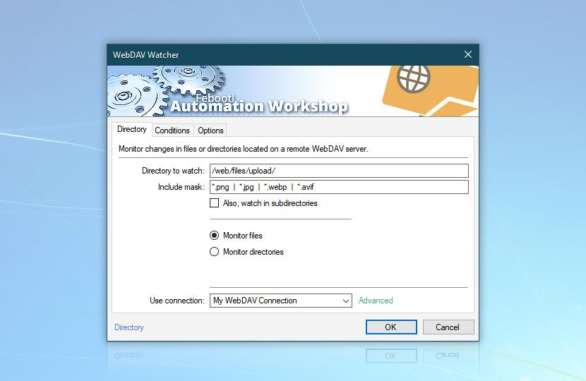 WebDAV watcher · Automation Workshop screenshot