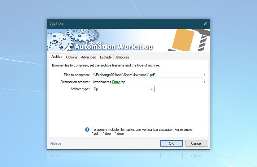 Zip Files · Automation Workshop screenshot
