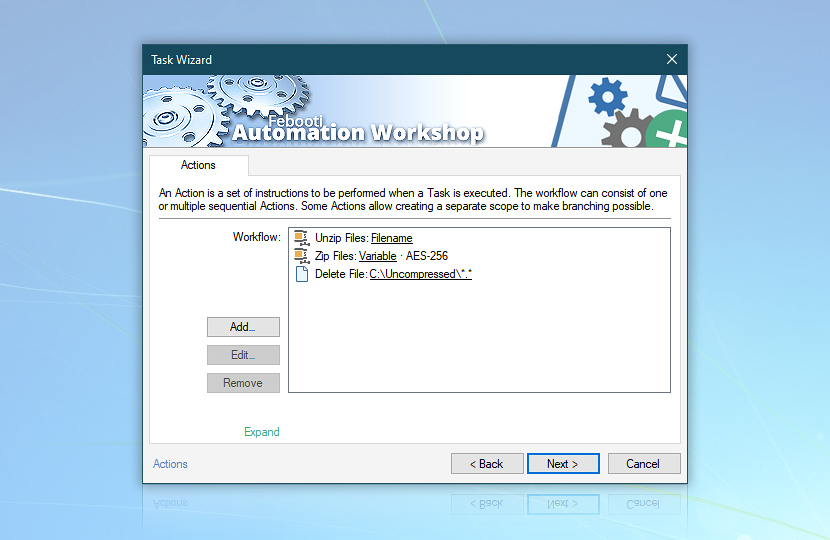 Actions · Unzip Files; Zip Files; Delete File