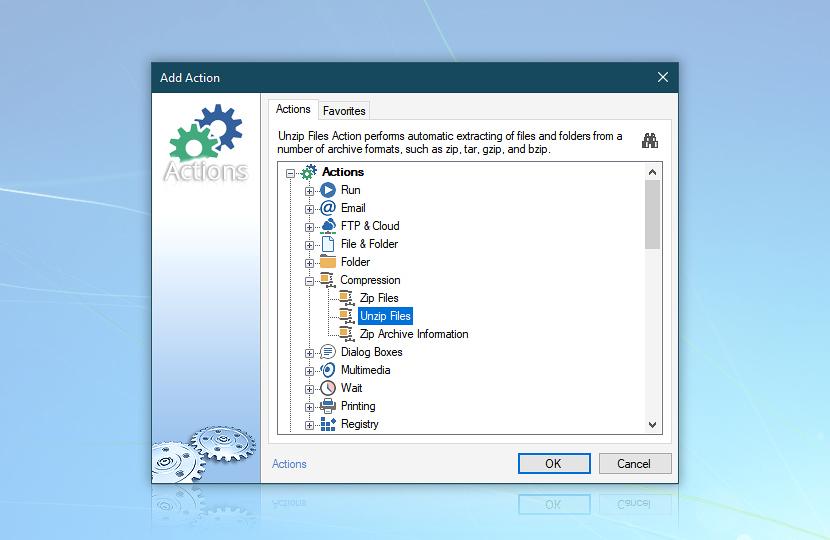 Add Action · Compression · Unzip Files