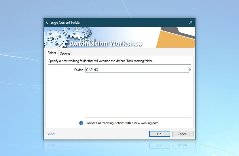 Change current folder · C:\PING