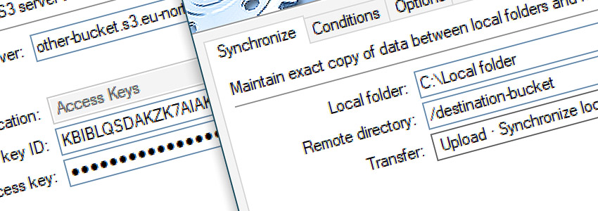 Connect to s3.amazonaws.com · Synchronize files · Upload