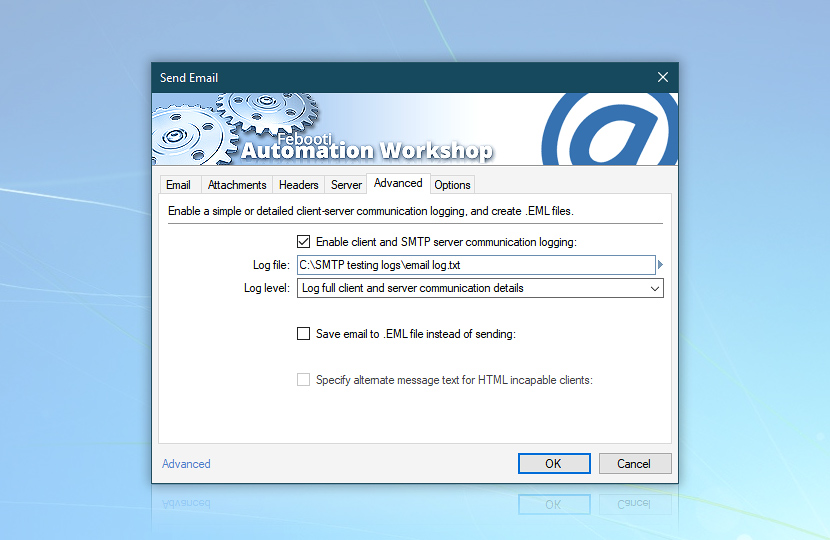 Enable client and SMTP server communication logging—email file.txt