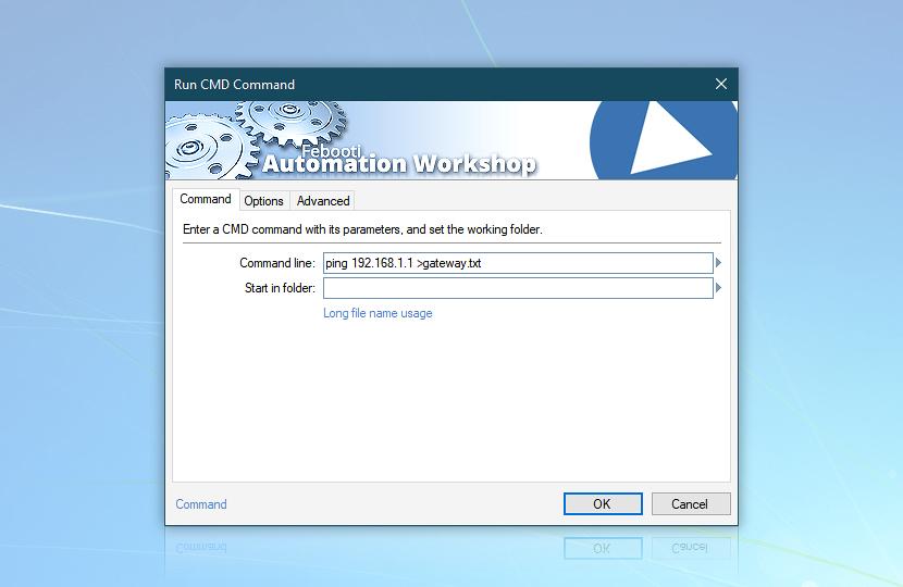 Command line: ping 192.168.1.1 >gateway.txt