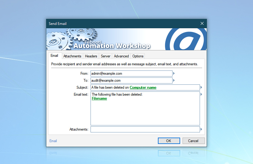 Send email message: with detected deleted filename