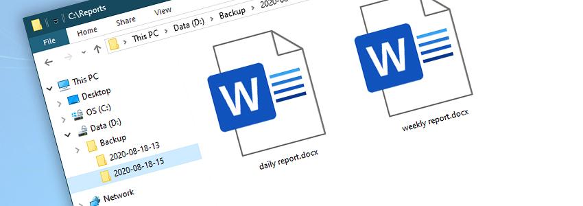 Windows Explorer · Backup folder · Year-month-day-hour