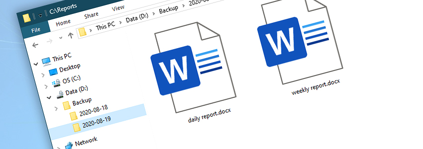 Windows Explorer · Backup folder · Year-month-day