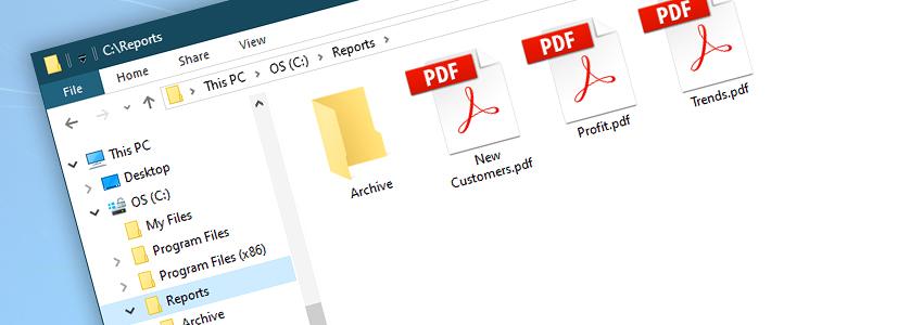 PDF files in C:\Reports\ folder…