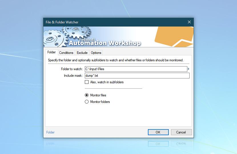 Folder watcher monitor C:\Input\Files for new dump*.txt files