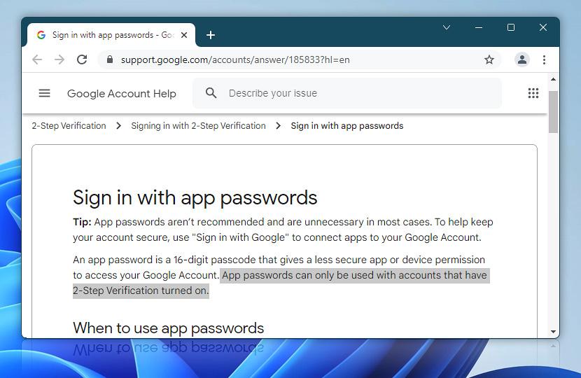 Sign in using App Passwords