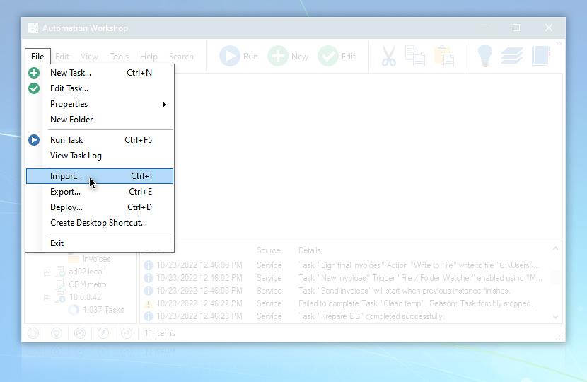 Automation Workshop File menu, Import…