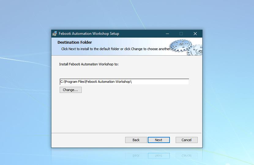 Automation Workshop destination folder