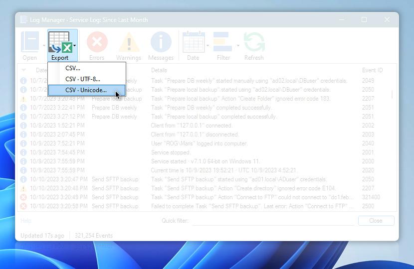Log Manager · export to CSV file (ASCII / UTF-8 / Unicode)