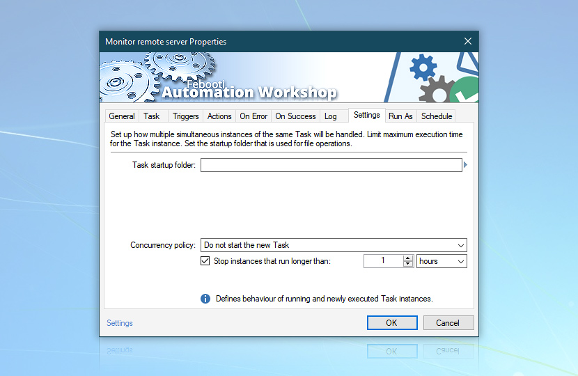 Ping test · Do not start the new task