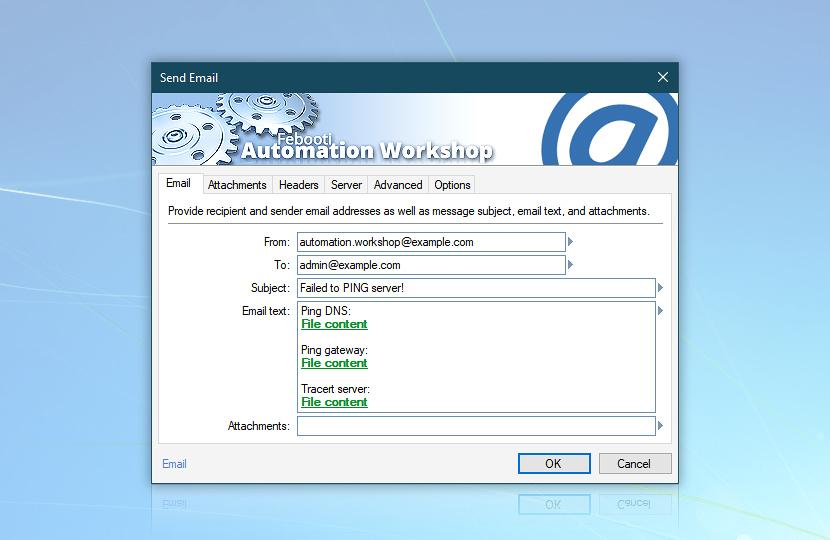 Send email · DNS, gateway, tracert