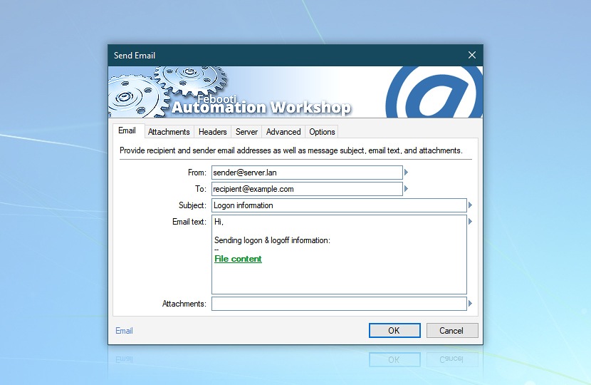 Send email: login history