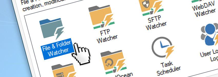 Add a File & Folder Watcher to the automated Task via GUI
