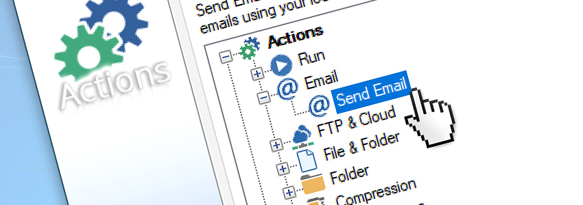 Add a Send Email Action to the automated Task via GUI