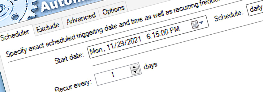 Task scheduler: recur every day