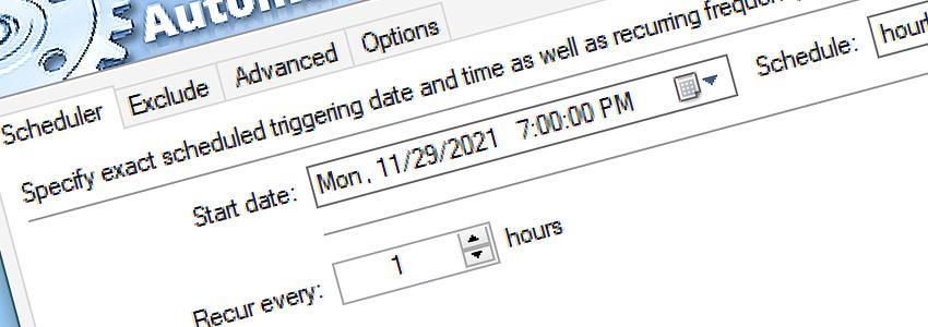 Task Scheduler · Recur every 1 hour