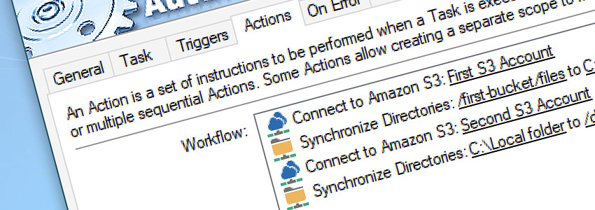 Task 'Sync Amazons AWS S3' Properties · 4 Actions