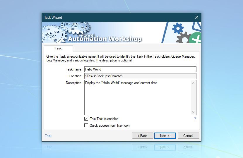 Task · Task name, Location, Description