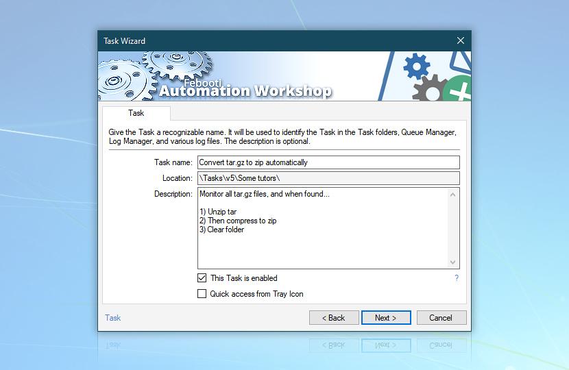 Task Wizard · Convert tar.gz to zip automatically