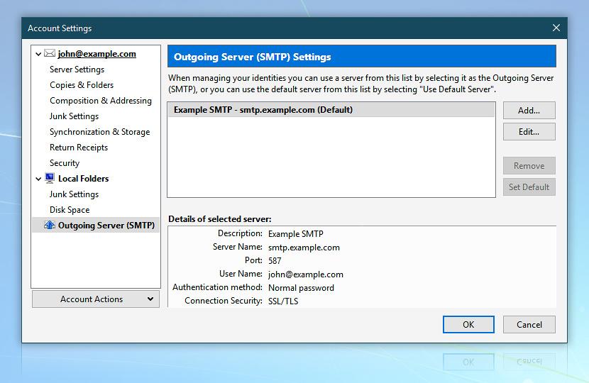 Mozilla Thunderbird · Account settings