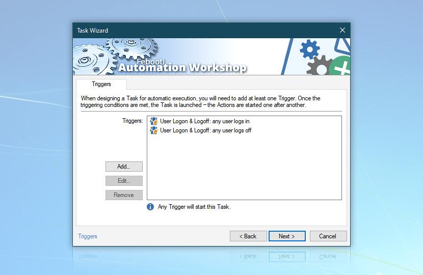 Task Wizard: 2 Triggers (user logon & logoff)